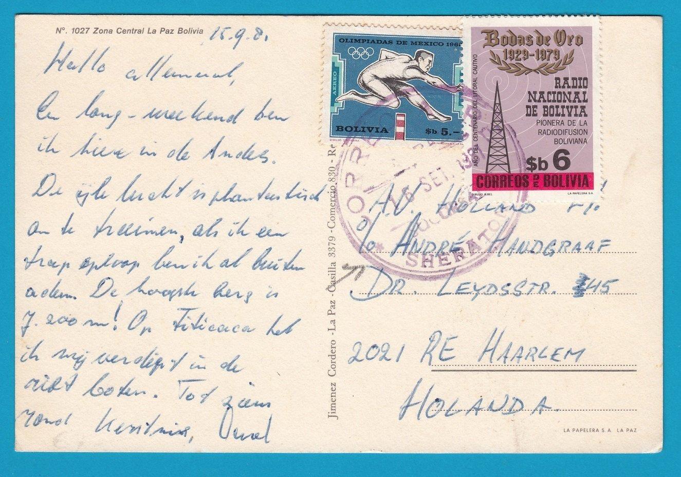 BOLIVIA PPC la Paz 1981 with Sheraton Hotel cancel to Netherlands