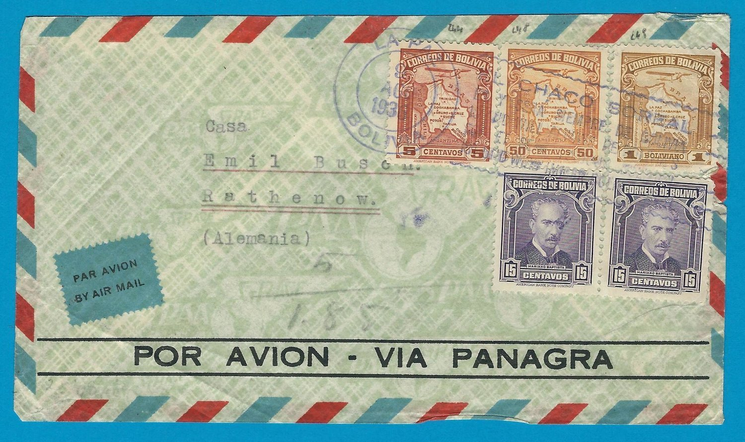 BOLIVIA airmail cover 1936 La Paz with CHACO war slogan to Germany