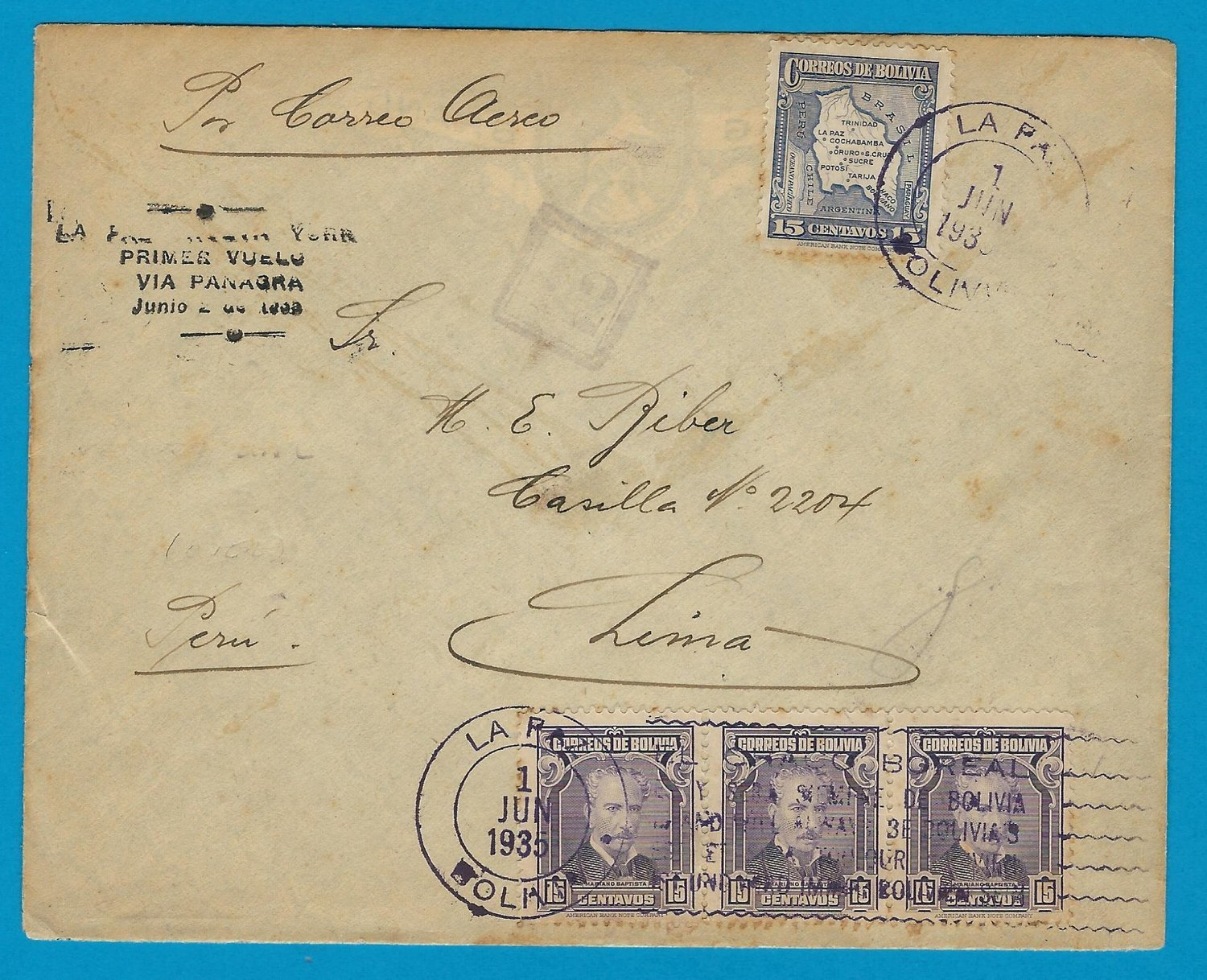 BOLIVIA airmail cover 1935 La Paz to Lima with military censor