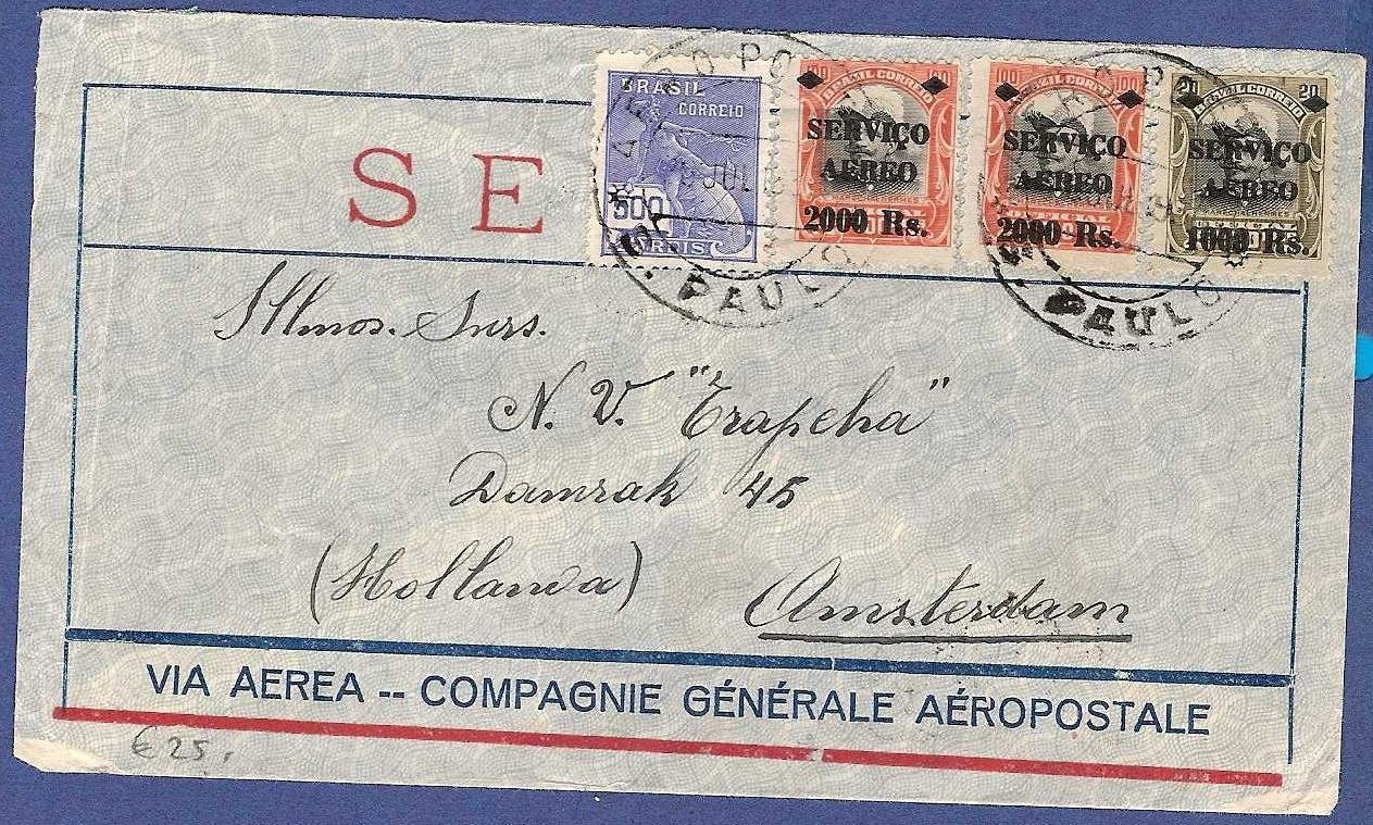 BRAZIL airmail cover 1930 S. Paulo to Netherlands