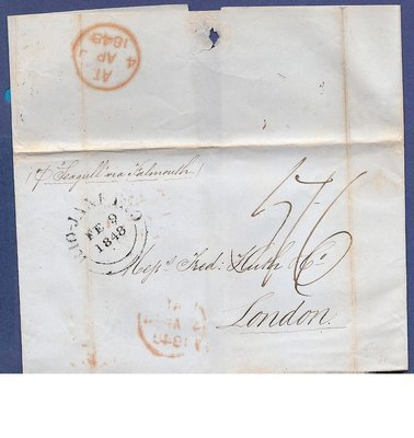 BRAZIL cover sheet 1848 Rio de Janeiro per SS Seagull to London