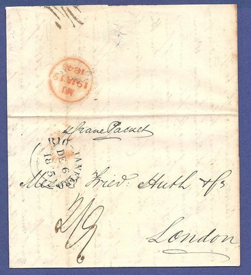 BRAZIL entire 1845 Rio de Janeiro by French packet to London