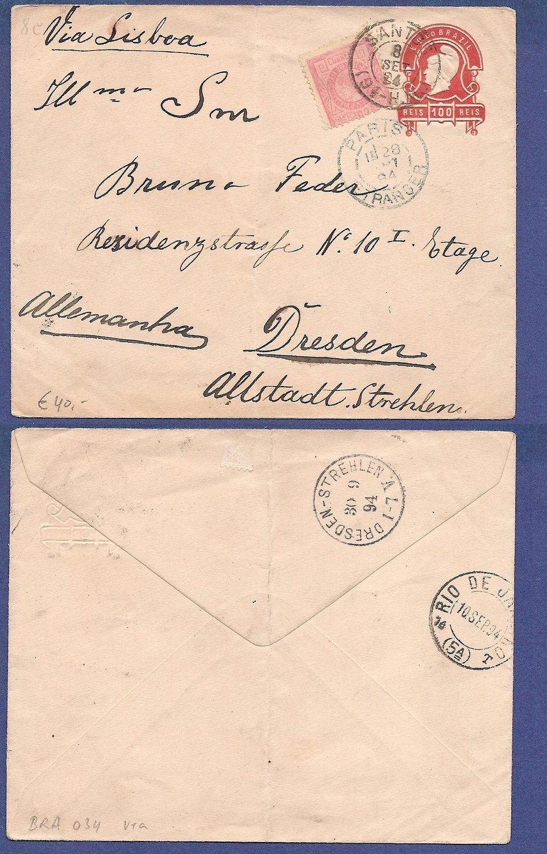 BRAZIL uprated postal envelope 1894 Santos to Germany