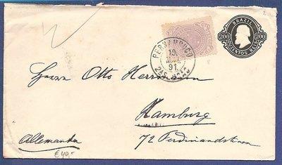 BRAZIL uprated postal envelope 1891 Pernambuco to Germany