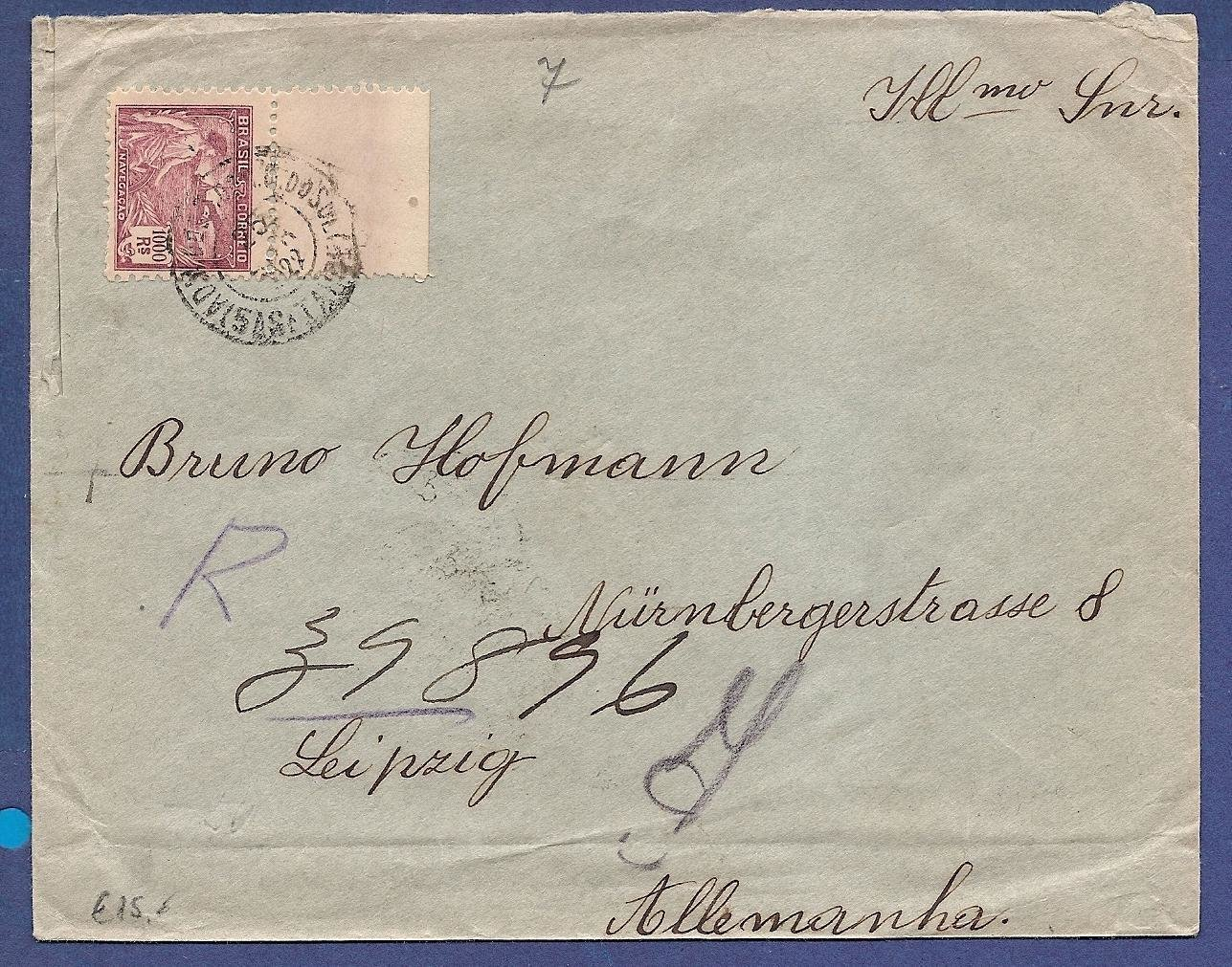 BRAZIL R cover 1922 with 1000Rs franking to Germany