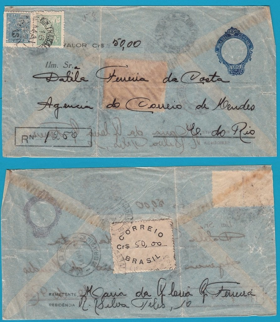 BRAZIL transparent R envelope 1949 for remittance