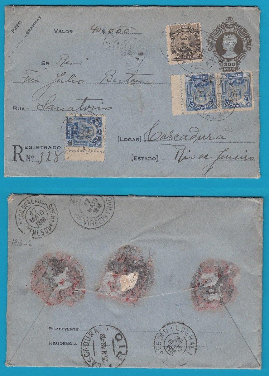 BRAZIL insured letter 1918 Atalaia to Cascadura