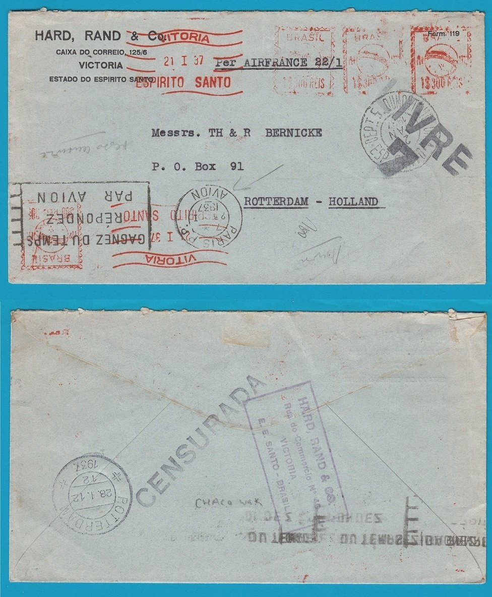 BRAZIL censored cover 1937 red meter Vitoria to Netherlands by Air France