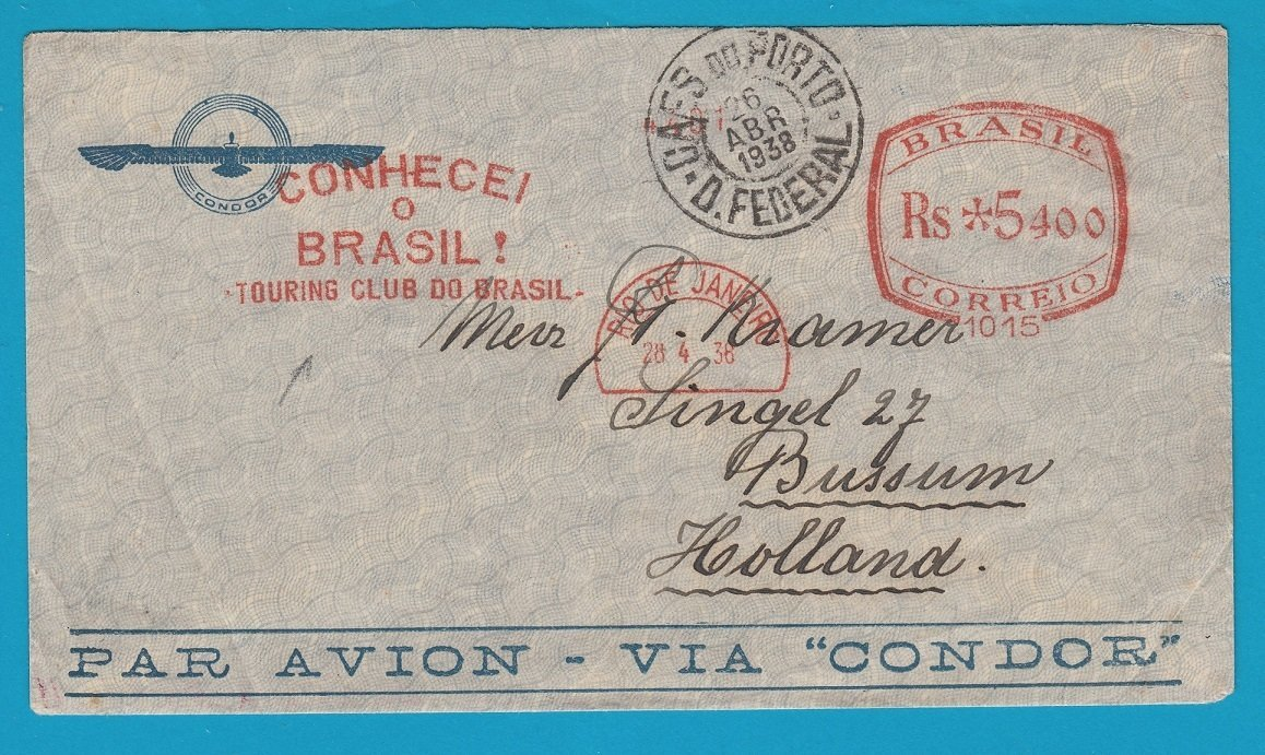 BRAZIL airmail cover 1938 RdJ red meter Touring Club to Netherlands