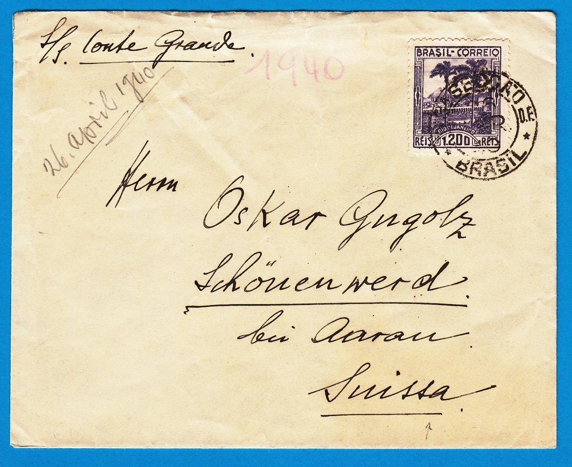 BRAZIL cover 26.1.1940 Rio de J to Switzerland