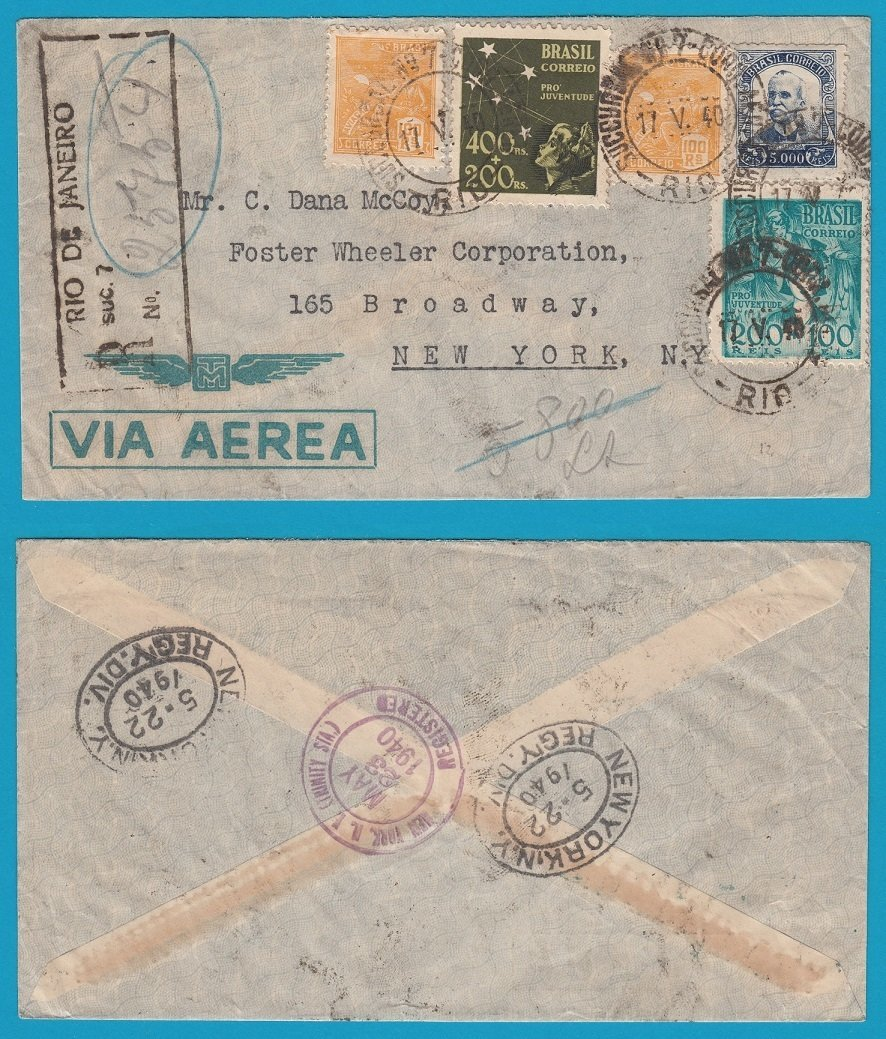 BRAZIL R airmail cover 1940 RdJ to USA