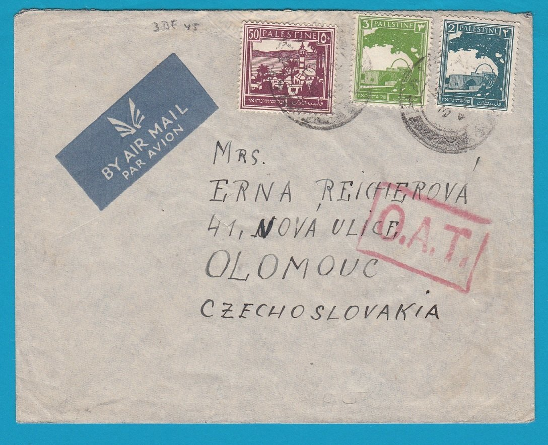 PALESTINE airmail cover 1945 with OAT to Czechoslovakia