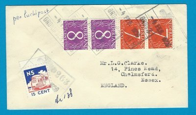 NETHERLANDS cover by train 4-2-1959 Groningen Amsterdam onwards air to England