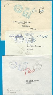 NETHERLANDS 3 postage due covers 1958-67