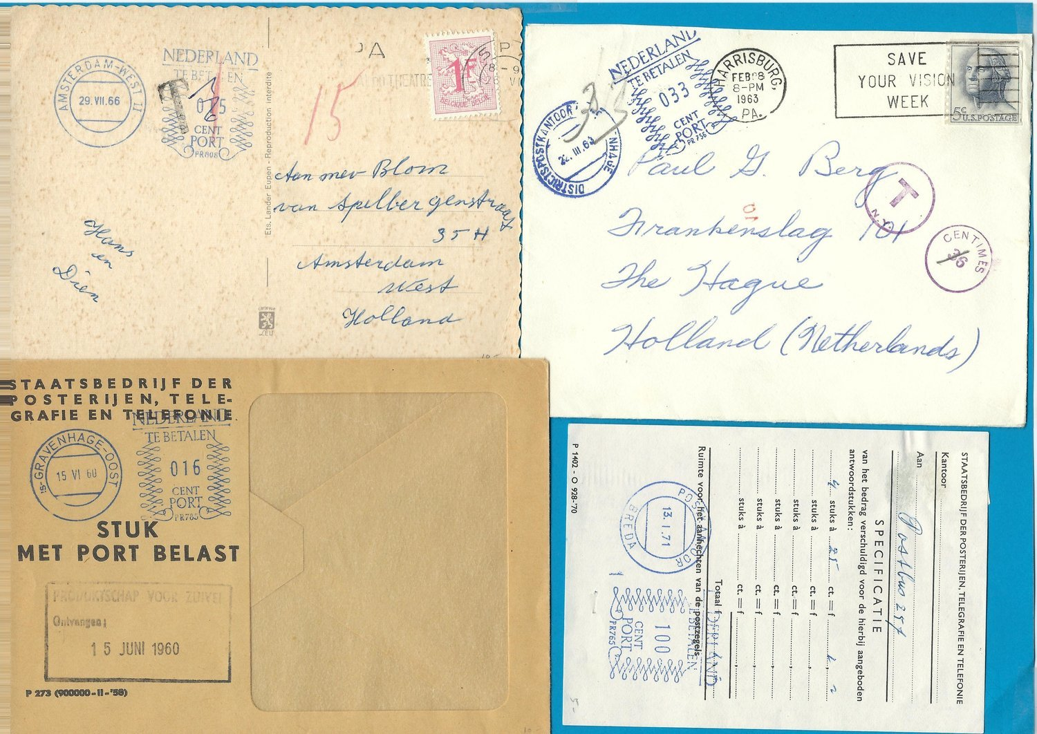 NETHERLANDS 4 items 1960-71 with postage due markings