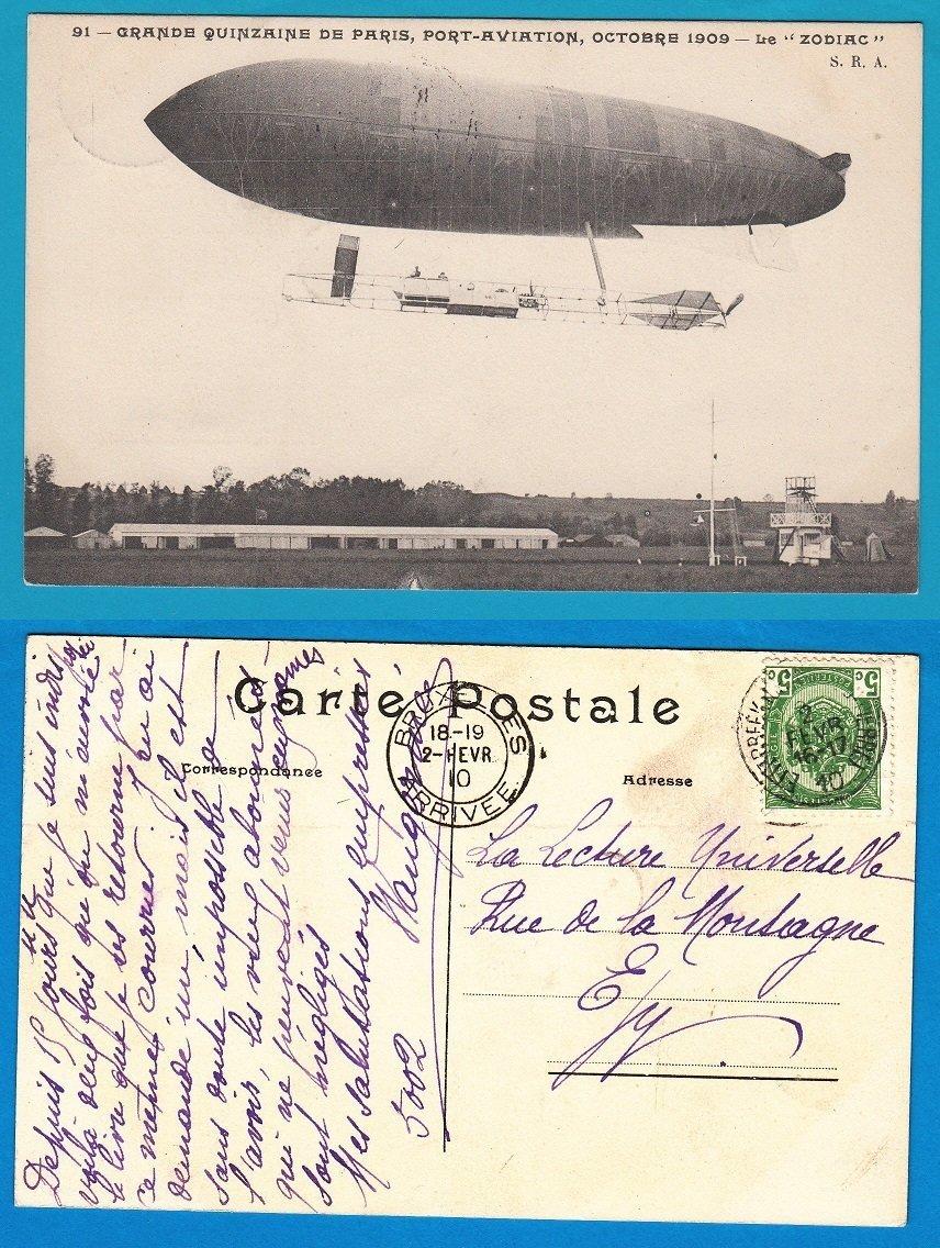BELGIUM zeppelin card 1910 Etterbeek to Brussels