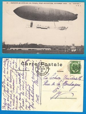 BELGIUM zeppelin card 1910 Etterbeek to Brussels
