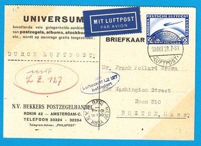 GERMANY card Zeppelin 1928 Friederichshafen to USA