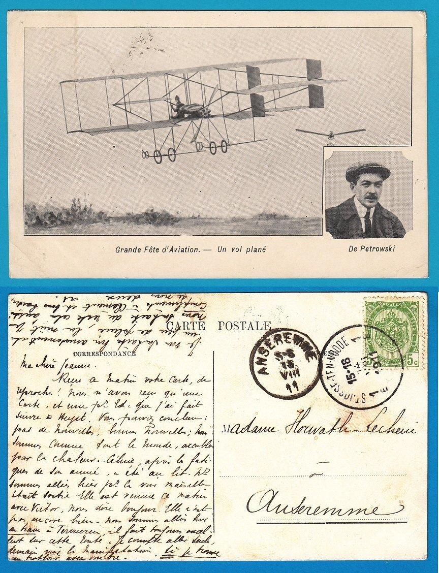 BELGIUM PPC airmail show 1911 De Petrowski