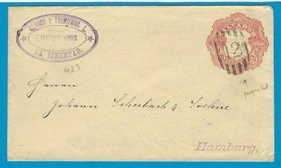 EL SALVADOR postal envelope 1892 La Libertad paquebot duplex