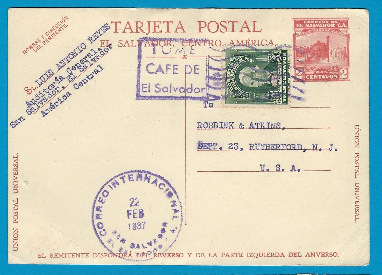 EL SALVADOR uprated postal card 1937 San Salvador to USA