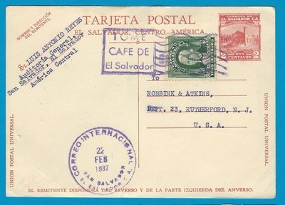 EL SALVADOR uprated postal card 1937 San Salvador to USA