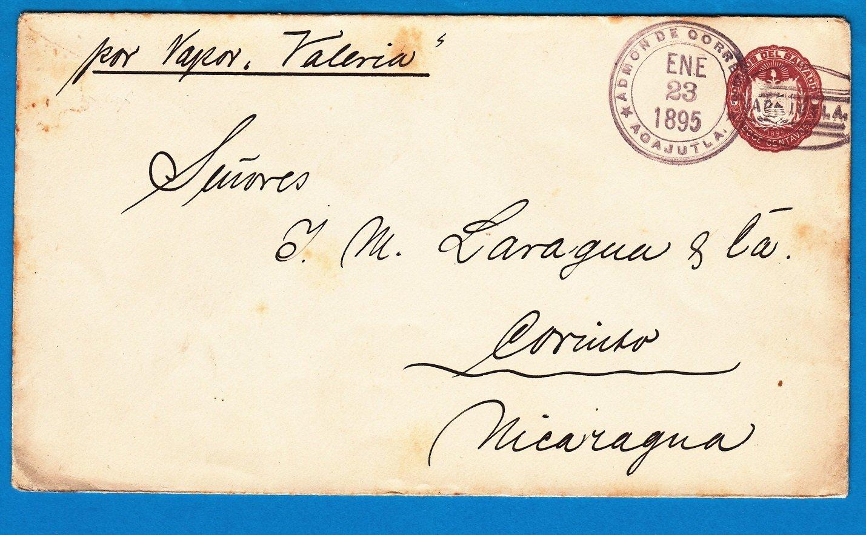 El Salvador postal envelope 1895 Acajutla to Nicaragua