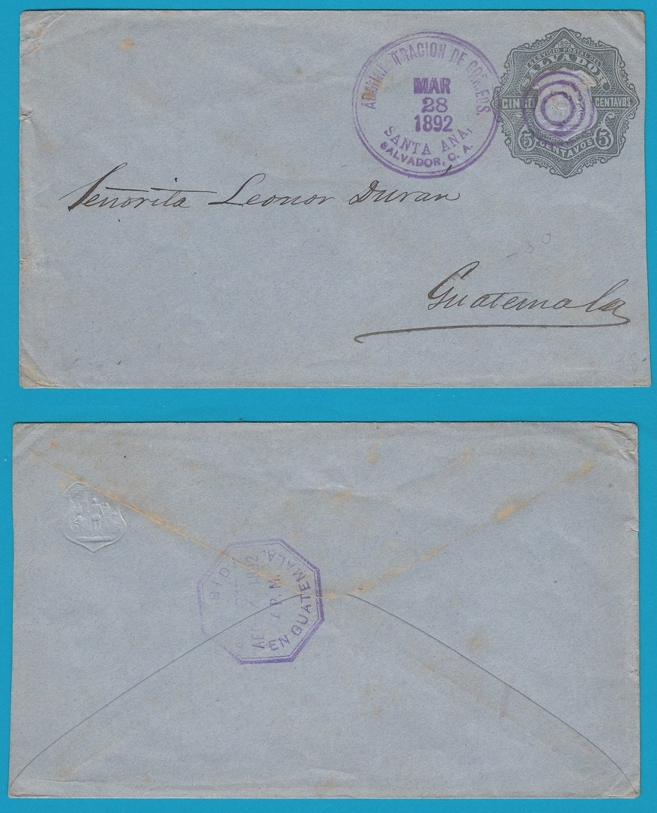 El Salvador postal envelope 1892 Sta Ana to Guatemala