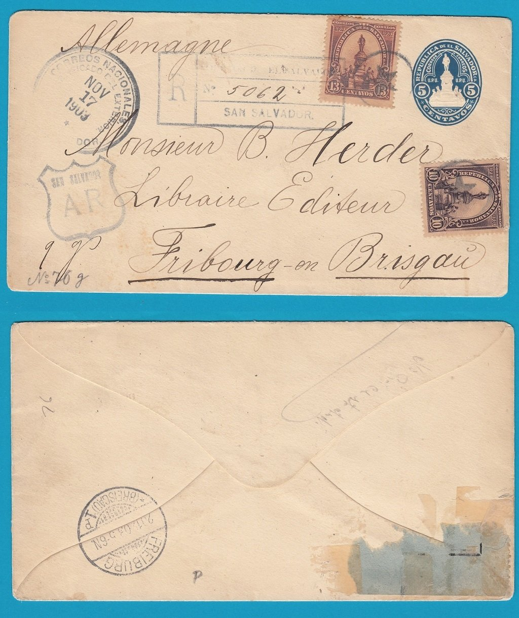 El Salvador postal envelope with AR 1903 San Salvador to Germany