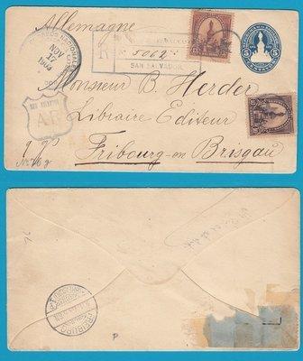 El Salvador postal envelope with AR 1903 San Salvador to Germany