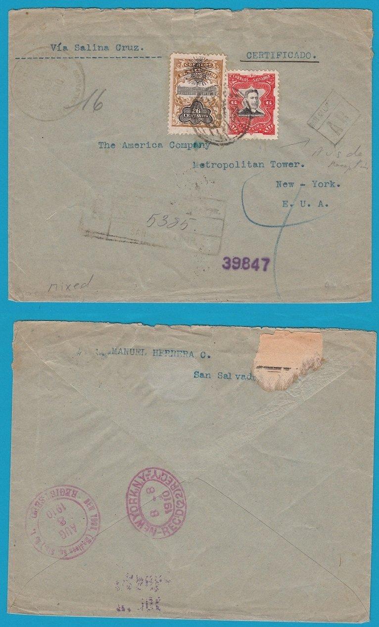 El Salvador AR cover 1910 San Salvador to USA