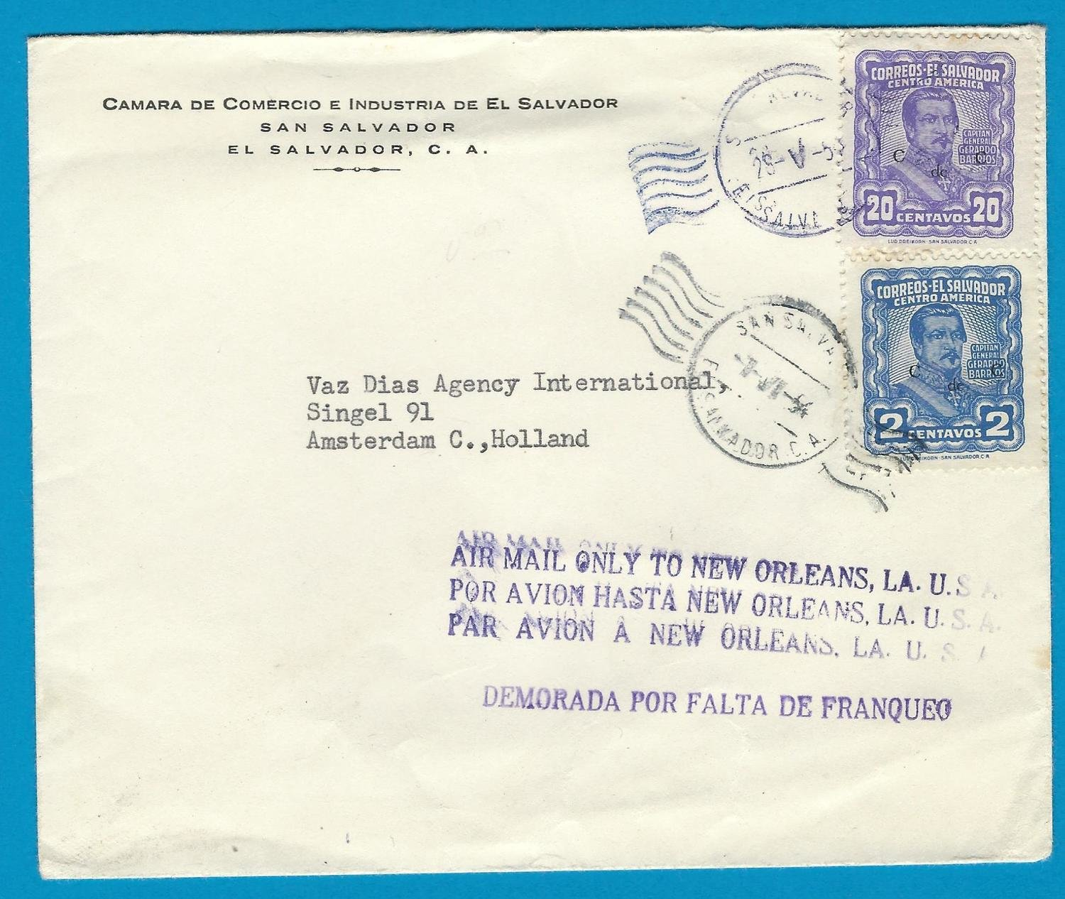 El Salvador air cover 1954 San Salvador to Netherlands - uprated