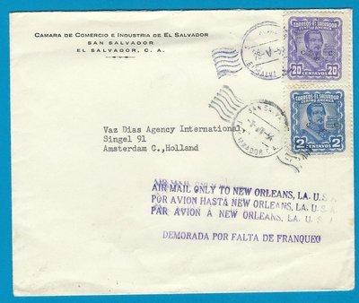El Salvador air cover 1954 San Salvador to Netherlands - uprated