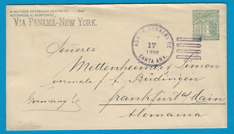 El Salvador postal envelope 1896 Sta Ana to Germany