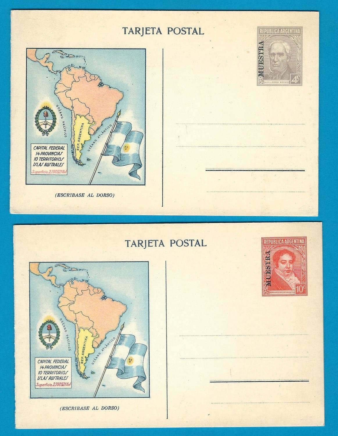 ARGENTINA 2 postal cards MUESTRA 1934 with map, flag