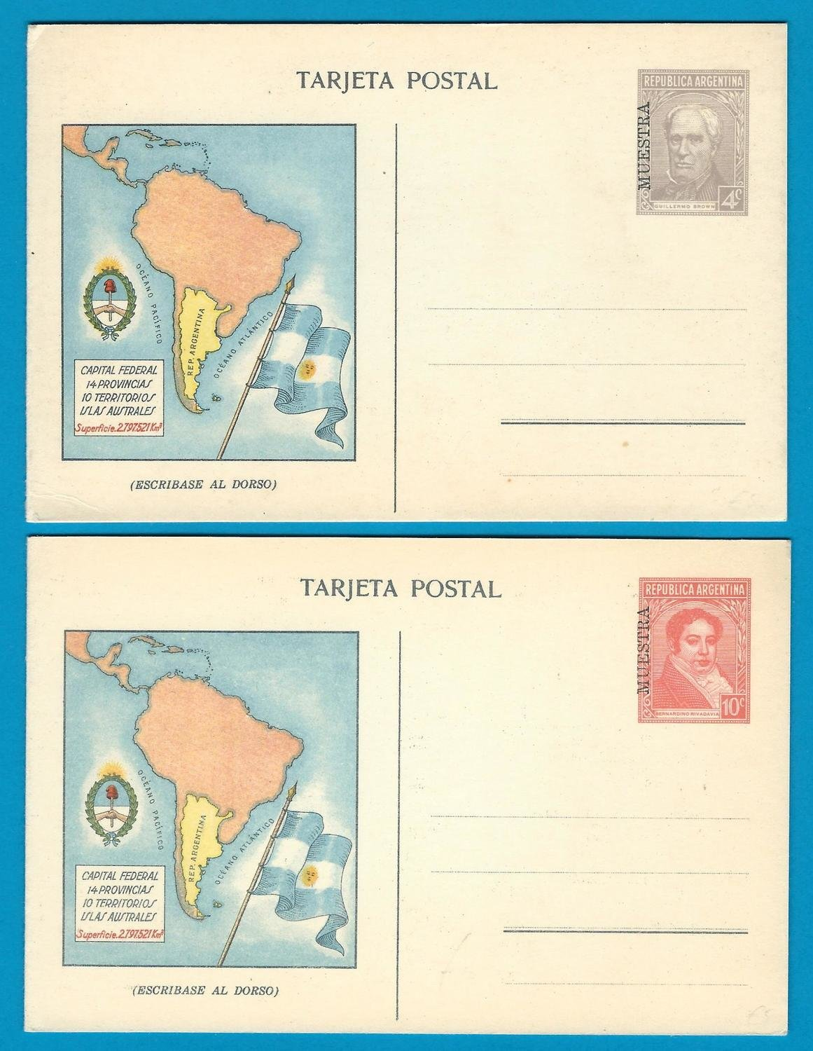 ARGENTINA 2 postal cards 1935 MUESTRA with map