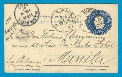 ARGENTINA postal card 1900 Buenos Aires to Philippines