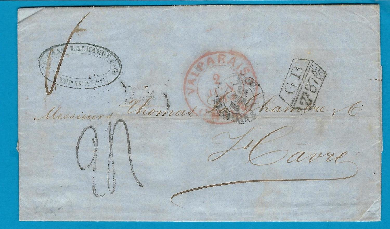 CHILE entire 1864 Valparaiso with GB packet to France