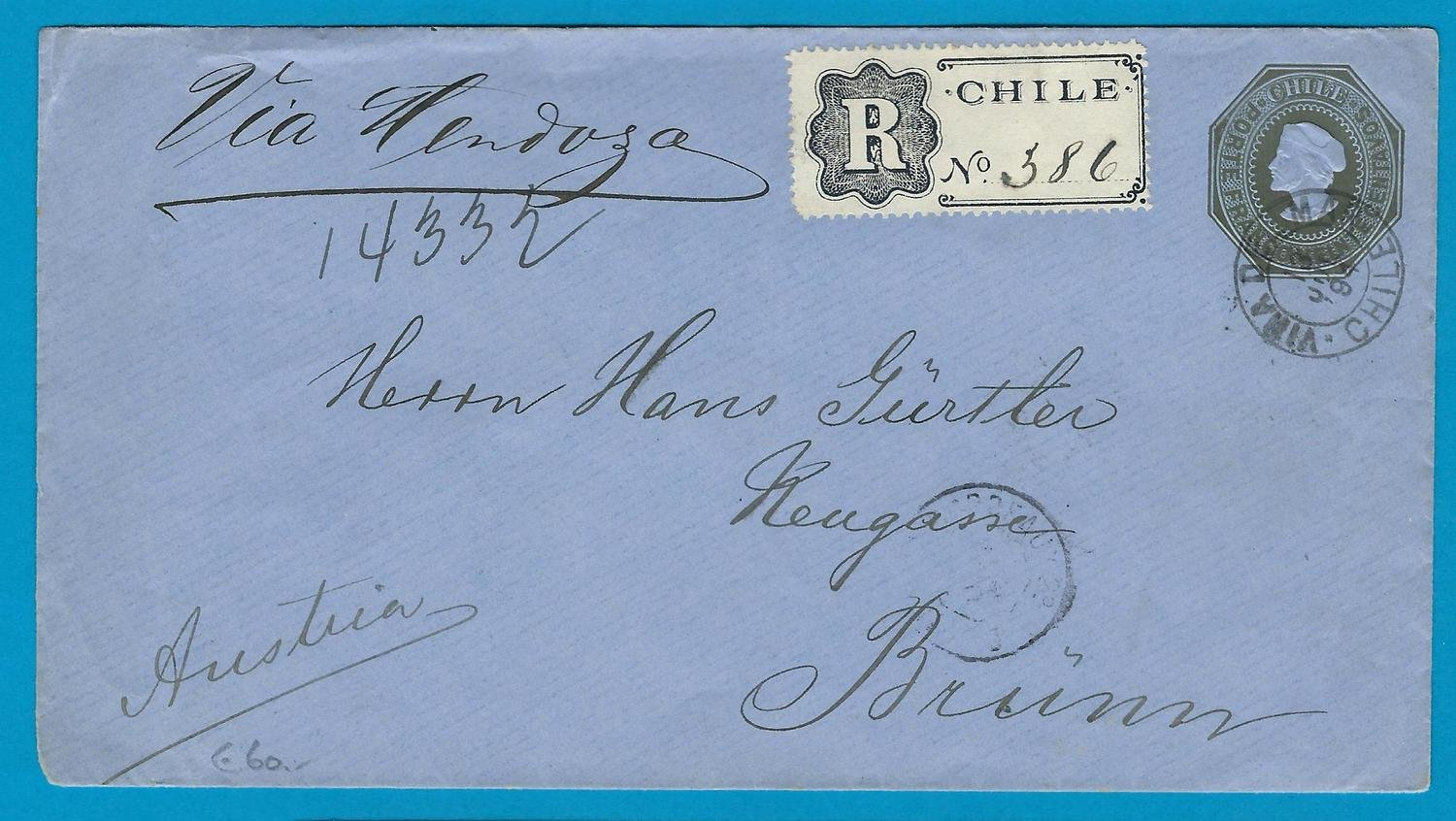 CHILE Registered postal envelope 1894 Viña del Mar to Austria