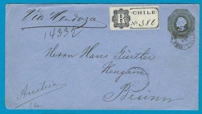 CHILE Registered postal envelope 1894 Viña del Mar to Austria