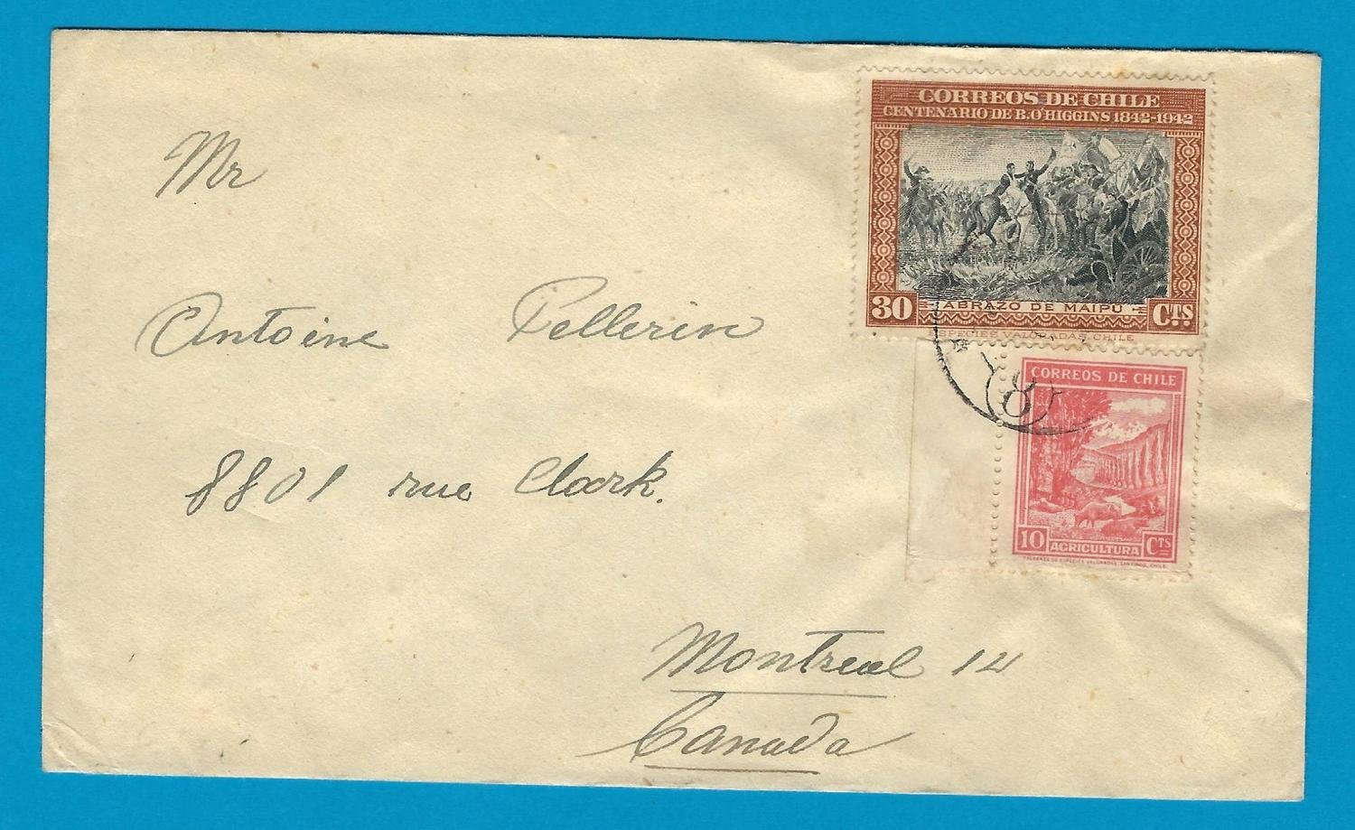 CHILE cover 1947 Iquique with Ambulancia 8 to Canada