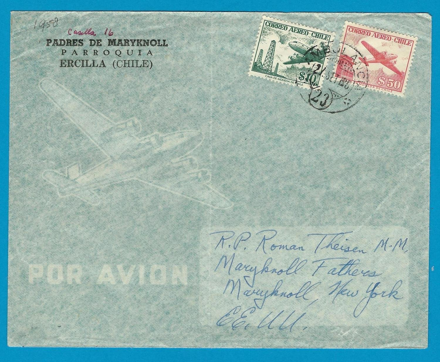 CHILE airmail cover 1958 Ercilla cancel Ambulancia 23 to USA