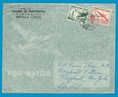 CHILE airmail cover 1958 Ercilla cancel Ambulancia 23 to USA