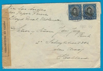 CHILE censored cover 1916 Sn Antonio with Ambulacia 44 to Netherlands