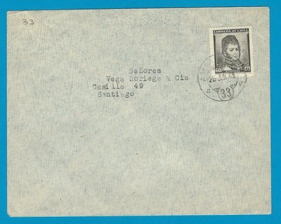 CHILE cover 1949 with Ambulancia 33 to Santiago