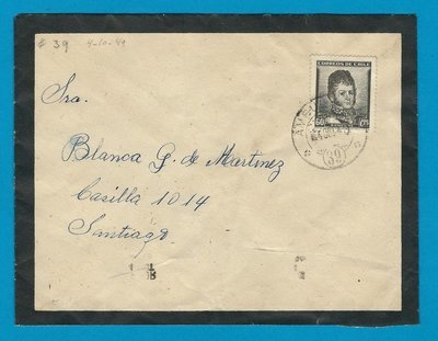 CHILE mourning cover 1949 El Arrayan with Ambulancia 39
