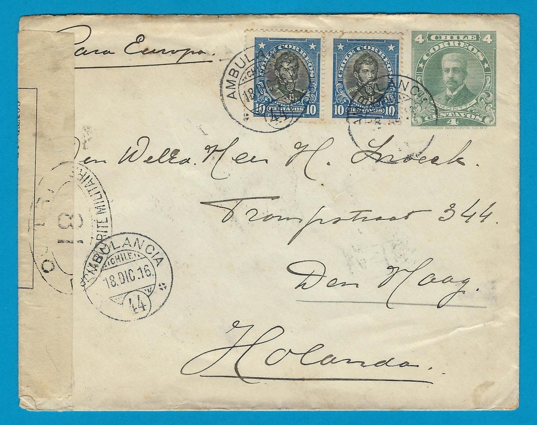 CHILE uprated postal envelope 1916 with Ambulancia 44 to Netherlands