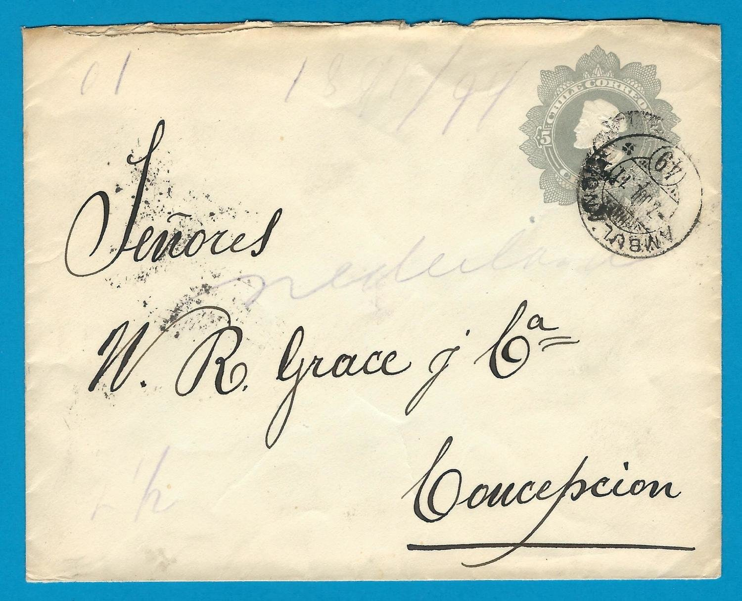 CHILE postal envelope 1911 Parral with Ambulancia 49 to Concepcion