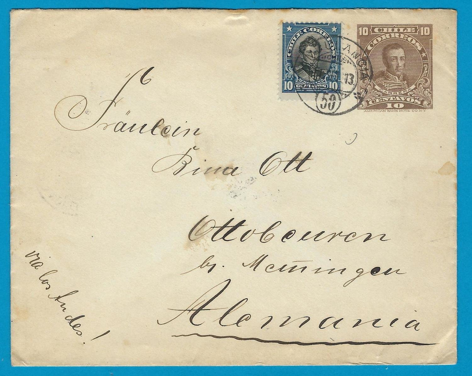 CHILE uprated envelope 1913 Ambulancia 50 to Germany