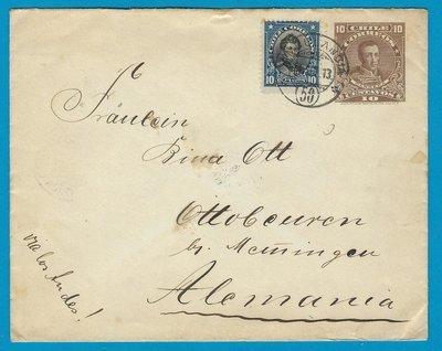 CHILE uprated envelope 1913 Ambulancia 50 to Germany